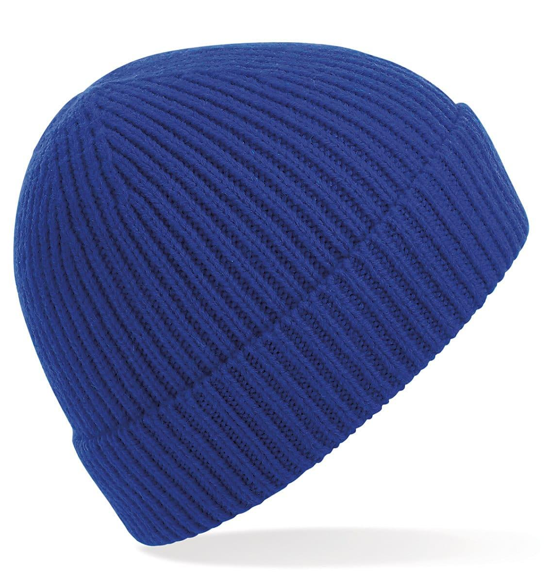 Beechfield Engineered Knit Ribbed Beanie Hat in Bright Royal (Product Code: B380)