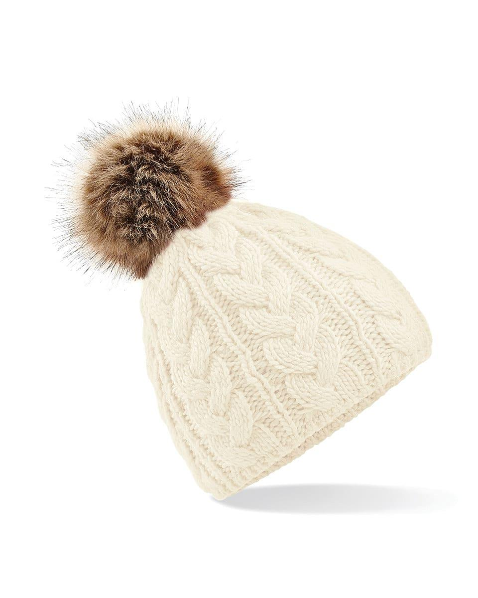 Beechfield Fur Pop Pom Cable Beanie Hat in Off-White (Product Code: B410)