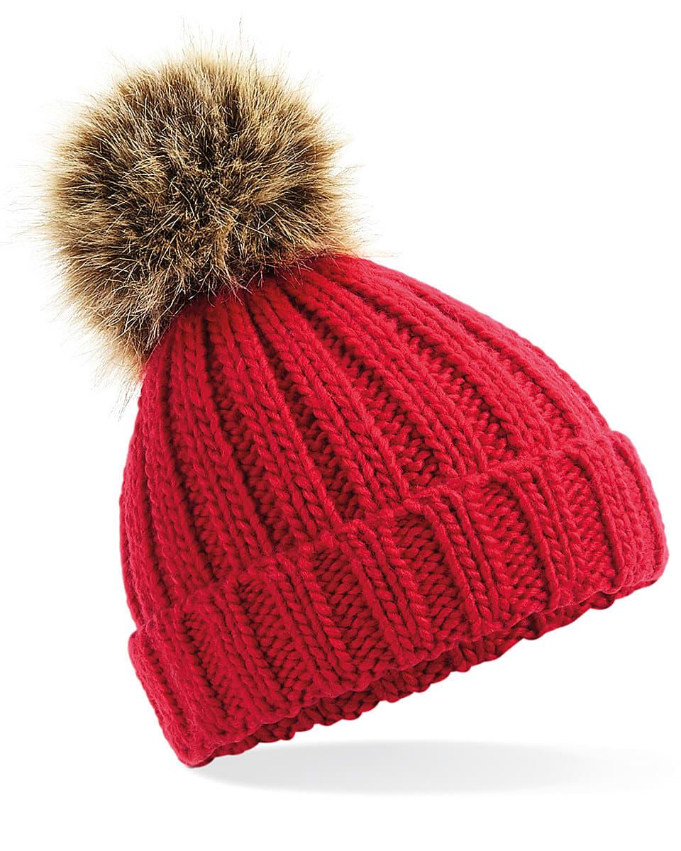 Beechfield Infant PomPom Chunky Beanie Hat in Classic Red (Product Code: B412A)