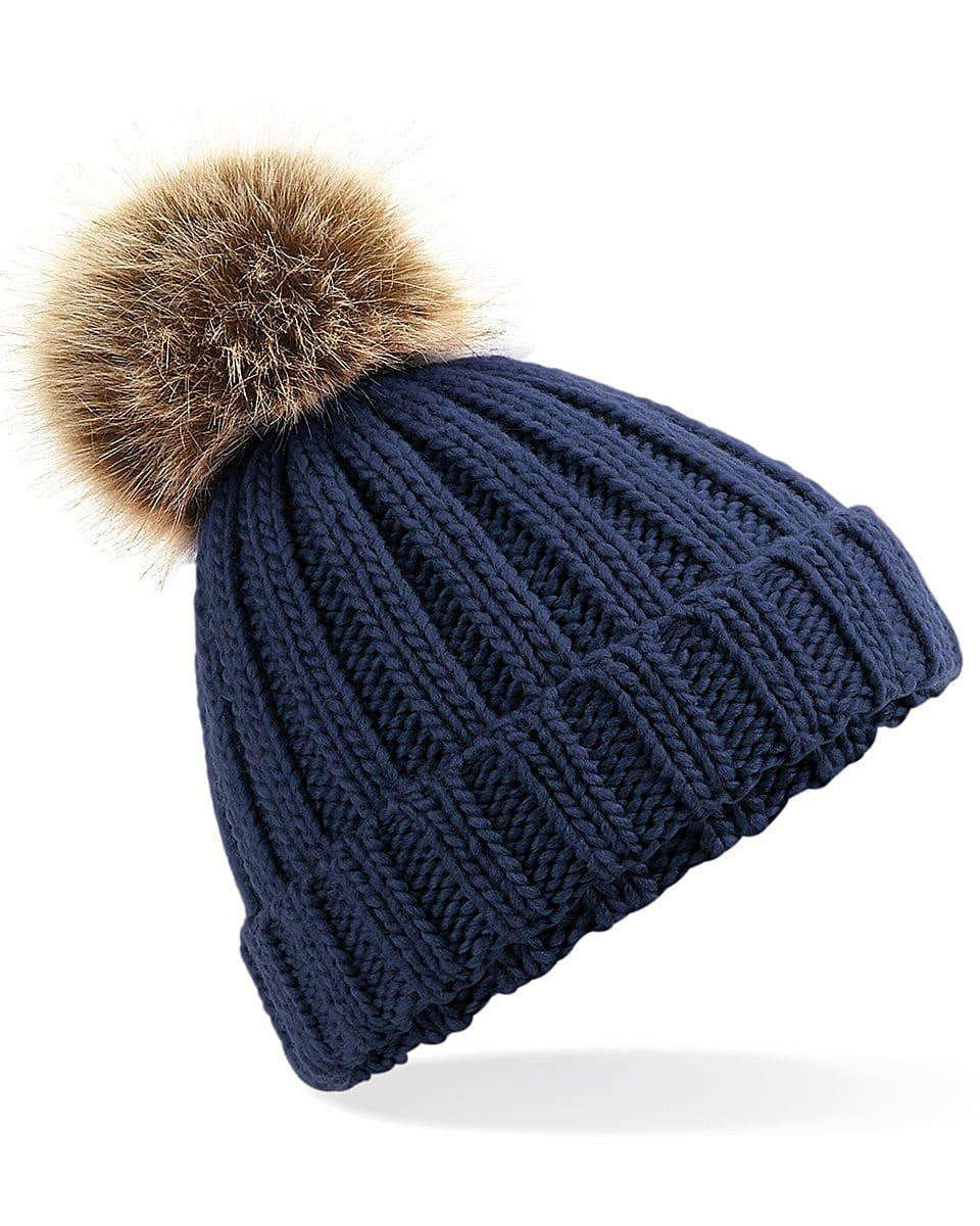 Beechfield Junior PomPom Chunky Beanie Hat in Navy Blue (Product Code: B412B)