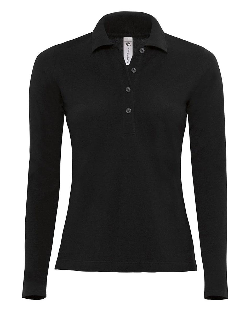 B&C Womens Safran Pure Long-Sleeve Polo Shirt in Black (Product Code: PW456)