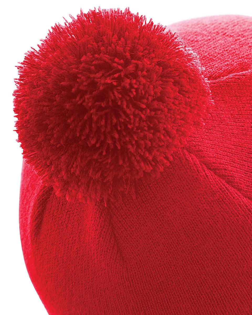 Beechfield Original Pom Pom Beanie Hat in Classic Red (Product Code: B426)