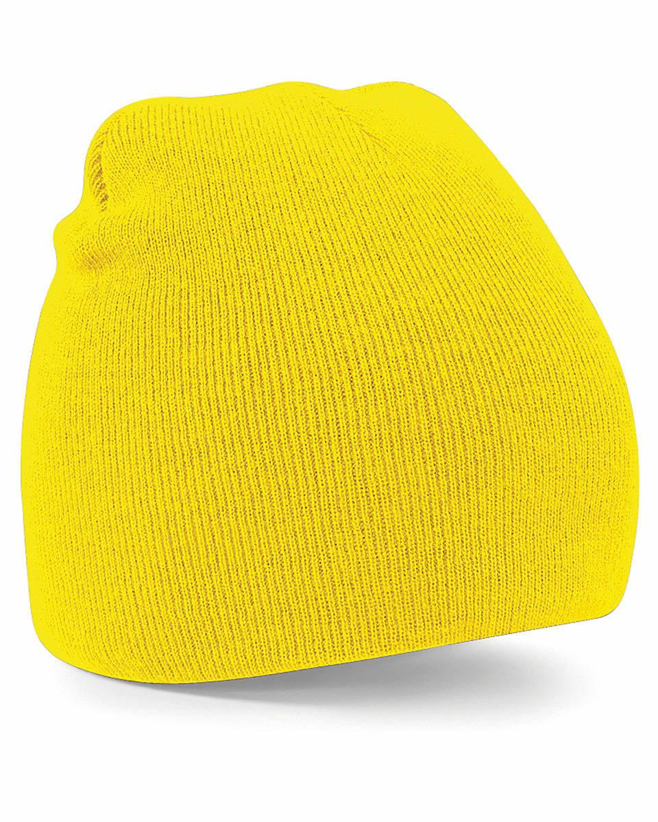 Beechfield Original Pull-On Beanie Hat in Yellow (Product Code: B44)