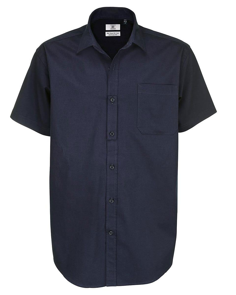 B&C Mens Sharp Twill Short-Sleeve Shirt in Navy Blue (Product Code: SMT82)