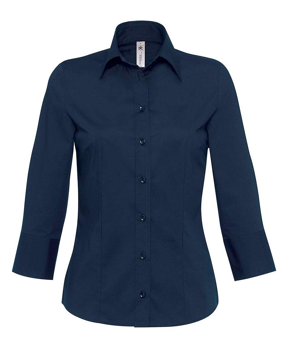 B&C Womens Milano Poplin Shirt in Navy Blue (Product Code: SW520)