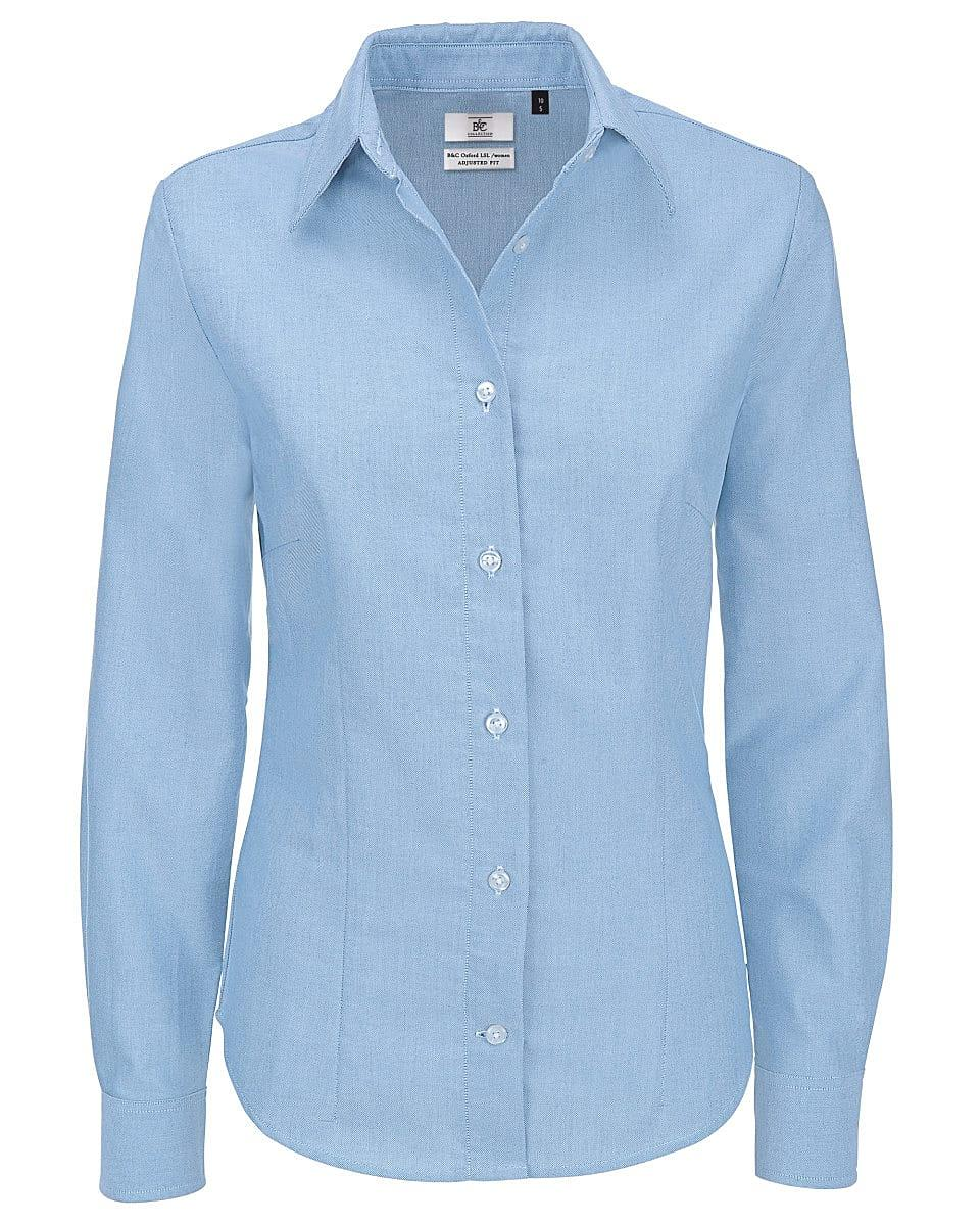 B&C Womens Oxford Long-Sleeve Shirt in Oxford Blue (Product Code: SWO03)