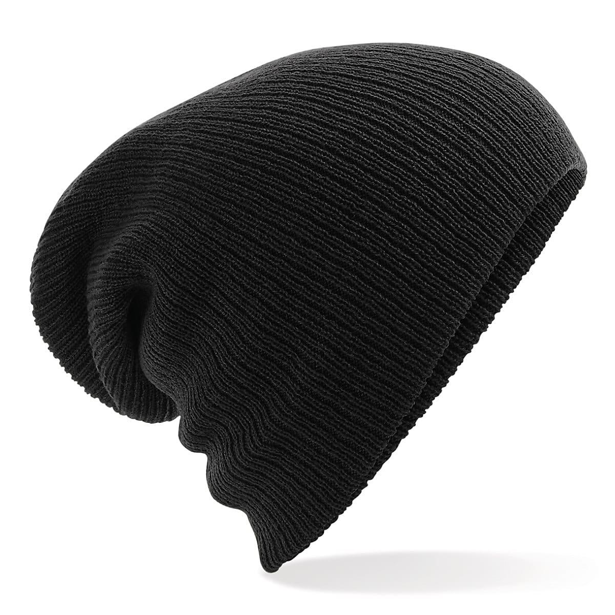 Beechfield Heavy Gauge Slouch Beanie Hat in Black (Product Code: B449)
