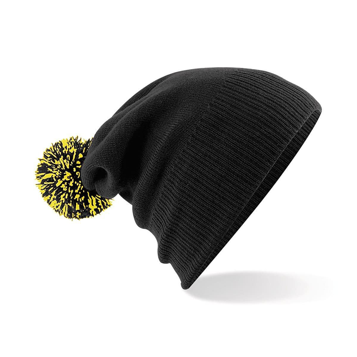 Beechfield Snowstar Beanie Hat in Black / Yellow (Product Code: B450)