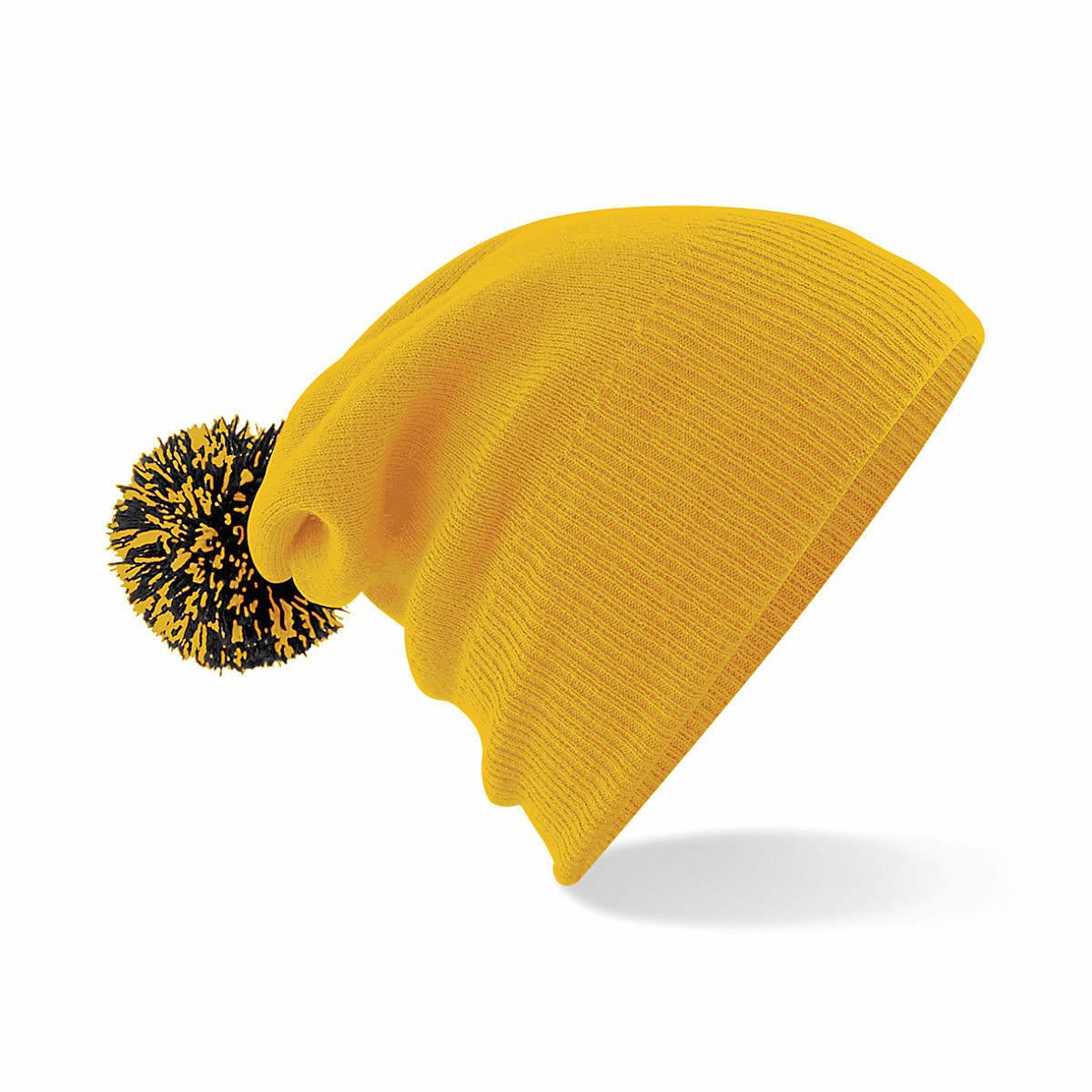 Beechfield Snowstar Beanie Hat in Gold / Black (Product Code: B450)
