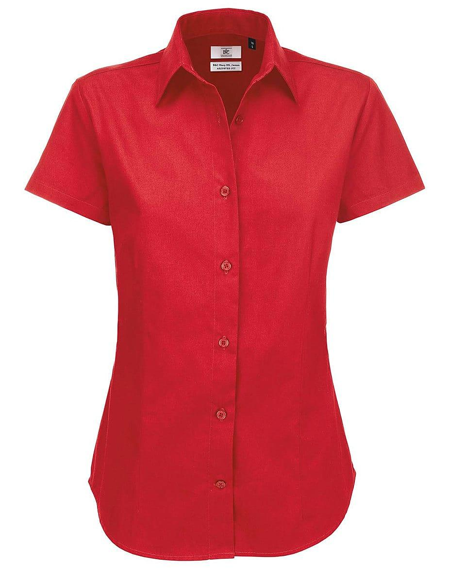 B&C Womens Sharp Twill Short-Sleeve Shirt in Deep Red (Product Code: SWT84)