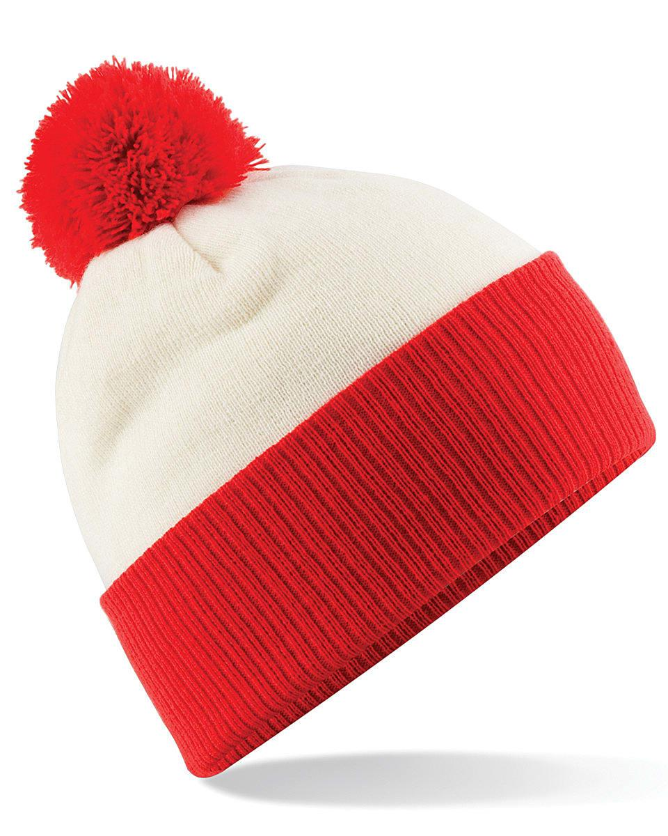 Beechfield Snowstar Two-Tone Beanie Hat in Off-White / Bright Red (Product Code: B451)