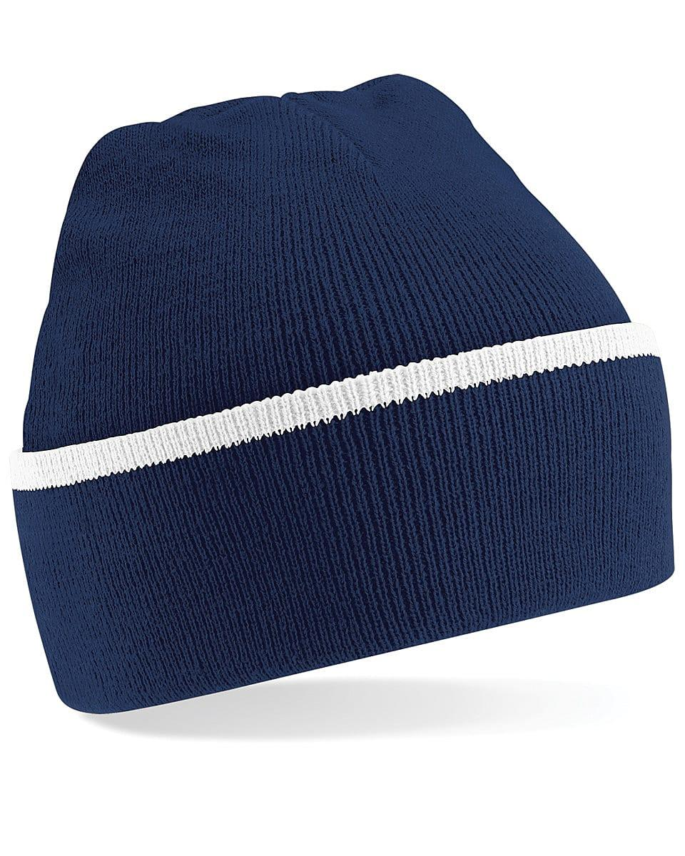 Beechfield Teamwear Beanie Hat in French Navy / White (Product Code: B471)