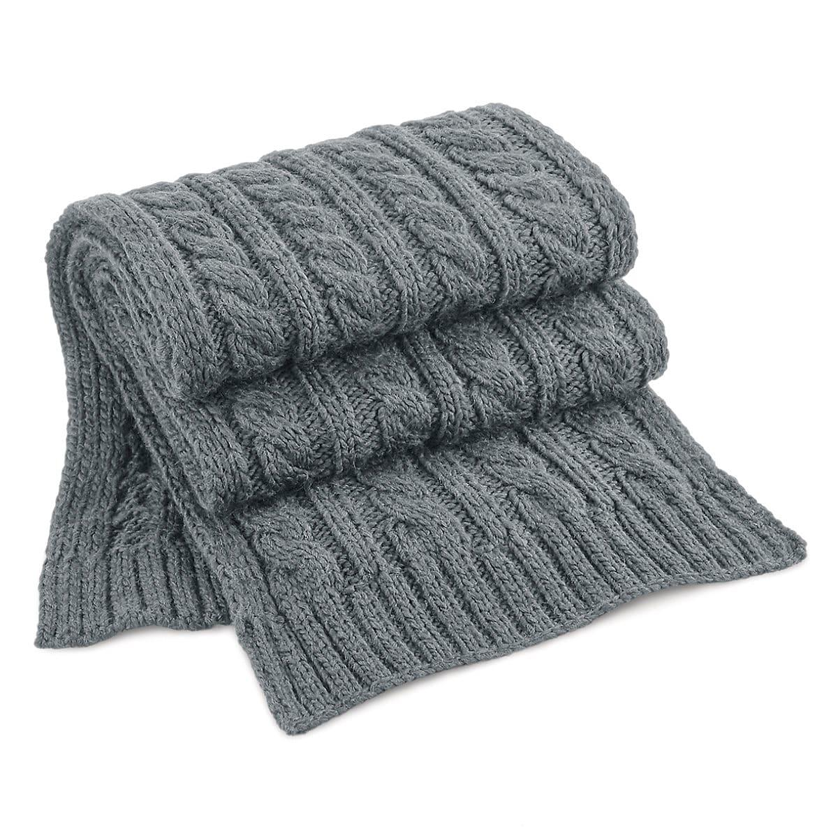Beechfield Cable Knit Melange Scarf in Light Grey (Product Code: B499)