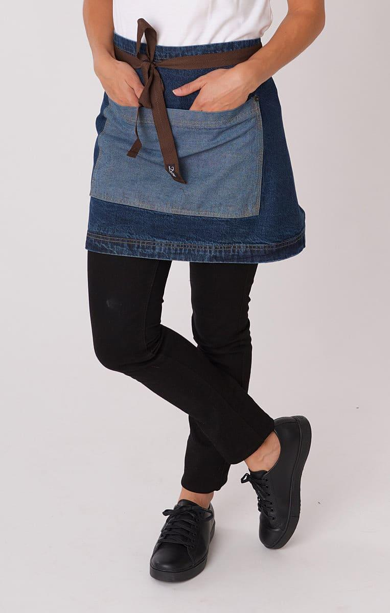 Dennys Washed Denim Contrast Waist Apron in Washed Blue Denim (Product Code: DP103B1)