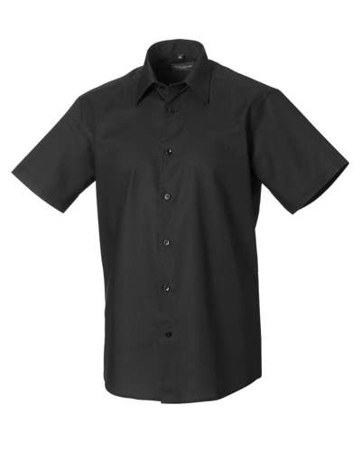 Russell Collection Mens Short-Sleeve Easy Care Tailored Oxford Shirt