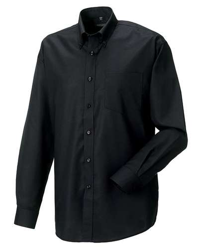 Russell Collection Mens Long-Sleeve Easy Care Oxford Shirt