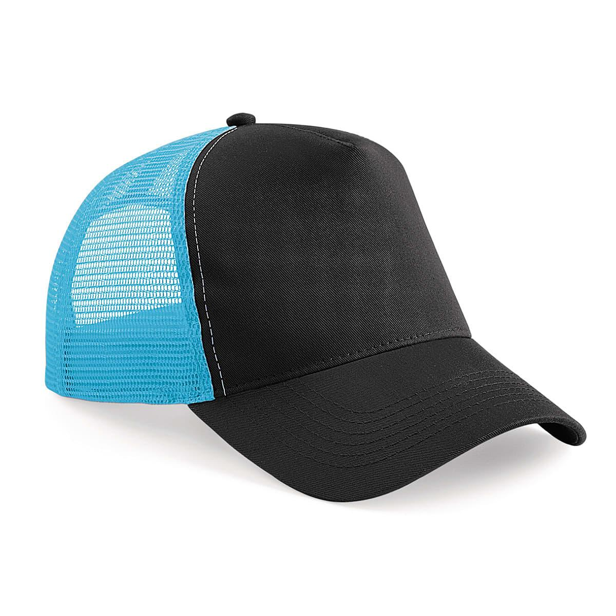 Beechfield Snapback Trucker Cap in Black / Surf Blue (Product Code: B640)