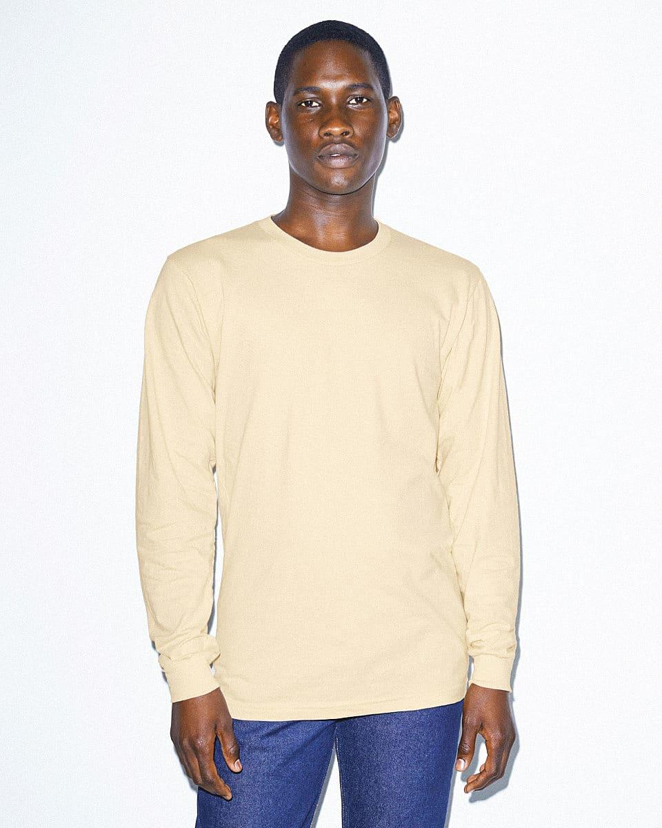 American Apparel Unisex Fine Jersey LS T-Shirt in Cream (Product Code: 2007W)