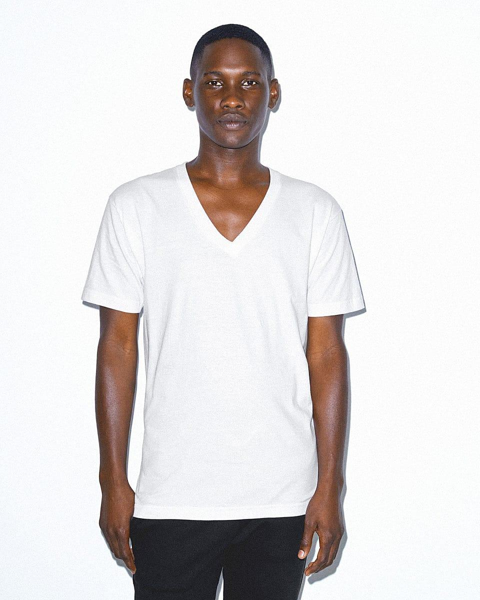 American Apparel Fine Jersey V-Neck T-Shirt in White (Product Code: 2456W)