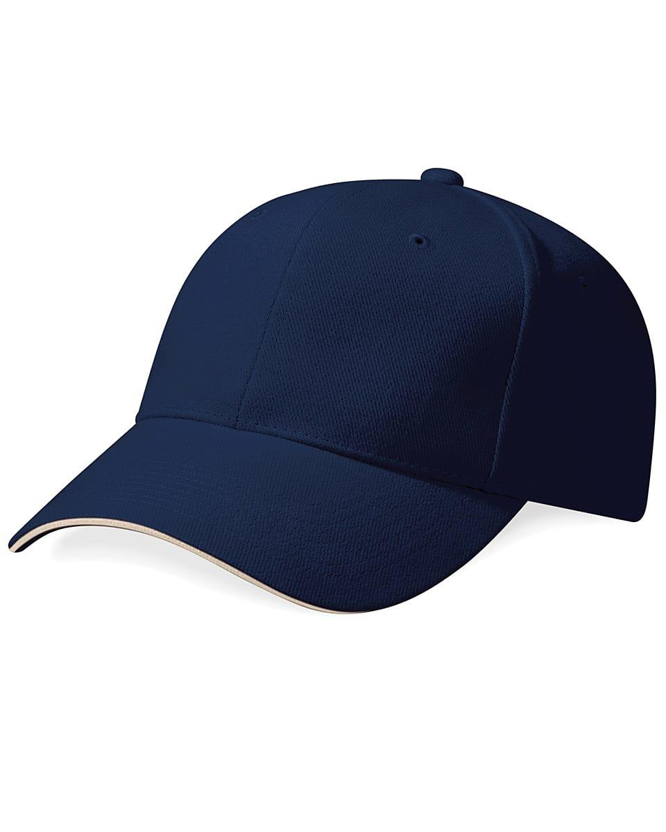 Beechfield Pro Style Heavy Cap in French Navy / Stone (Product Code: B65)