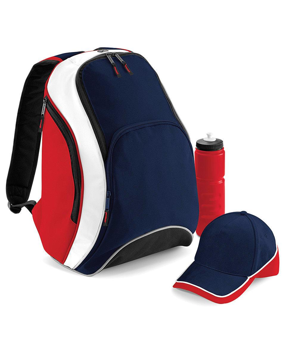 Bagbase Teamwear Backpack in French Navy / Classic Red / White (Product Code: BG571)