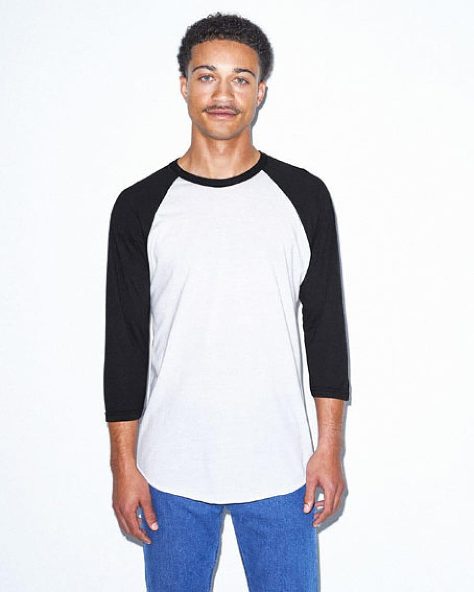American Apparel 3/4 Raglan T-Shirt in White / Black (Product Code: BB453W)