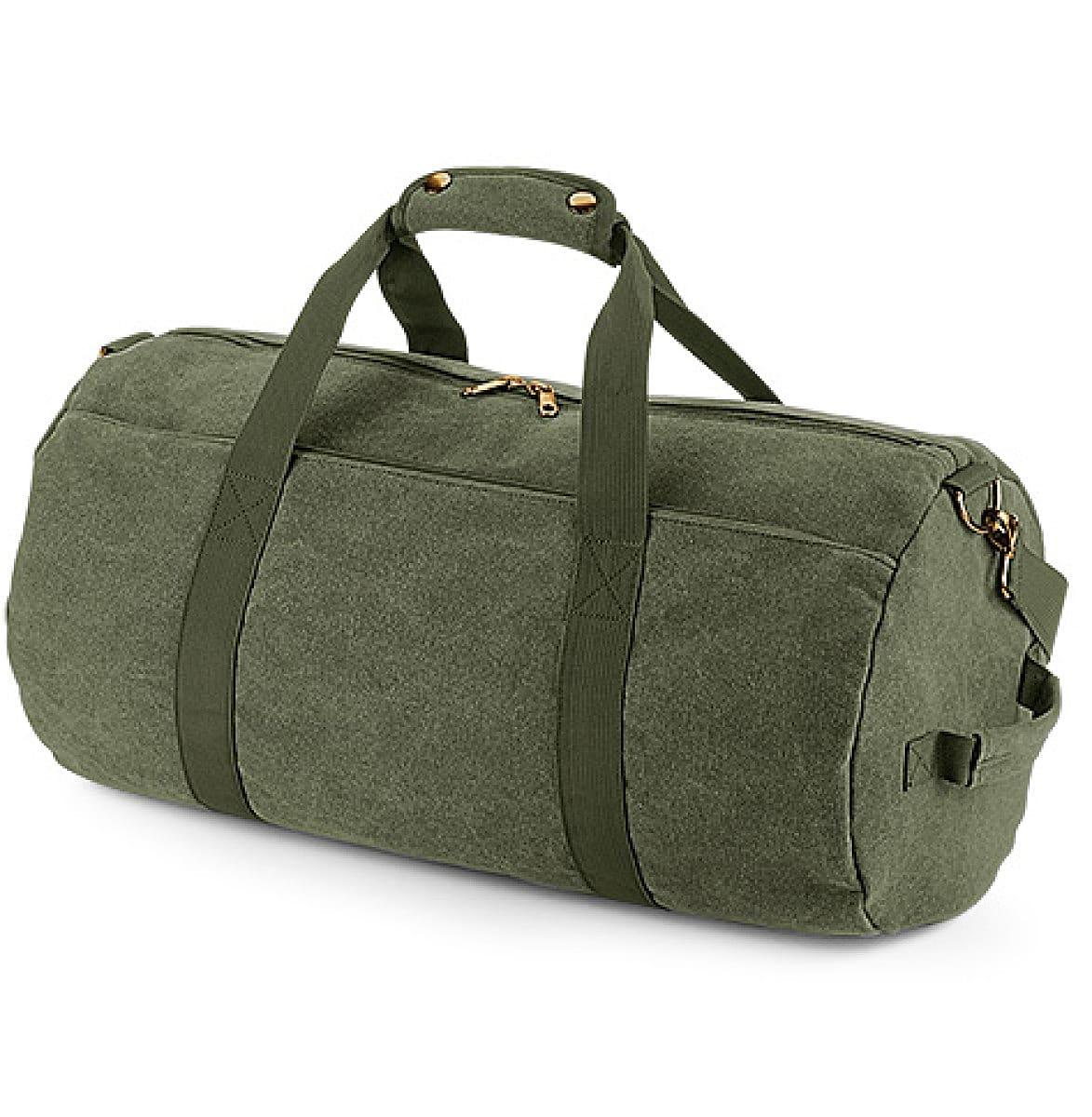Bagbase Vintage Canval Barrel Bag in Vintage Military Green (Product Code: BG655)