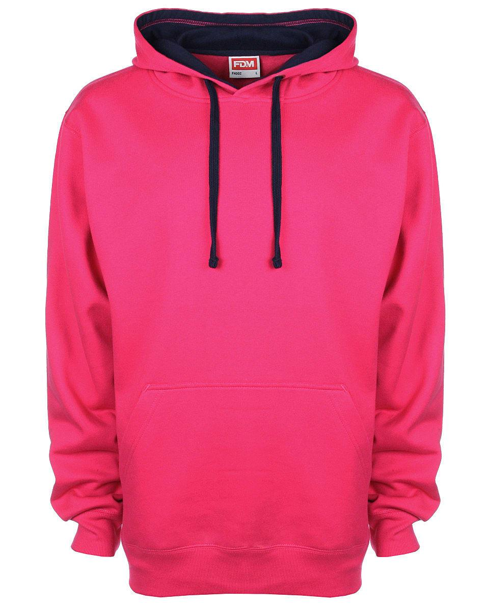 FDM Unisex Contrast Hoodie in Fuchsia / Navy (Product Code: FH002)