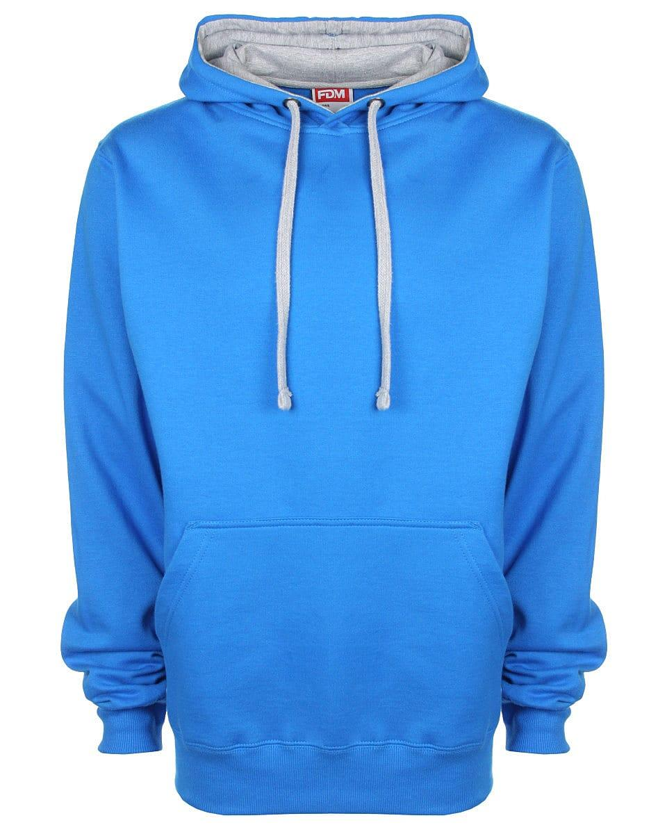 FDM Unisex Contrast Hoodie in Sapphire / Heather Grey (Product Code: FH002)