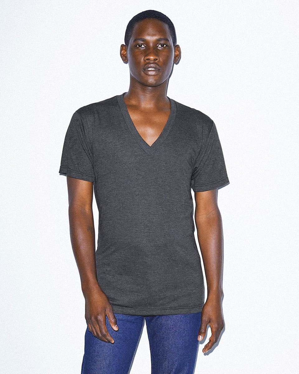 American Apparel Unisex Ss Vneck T-Shirt in Tri-Black (Product Code: TR461W)