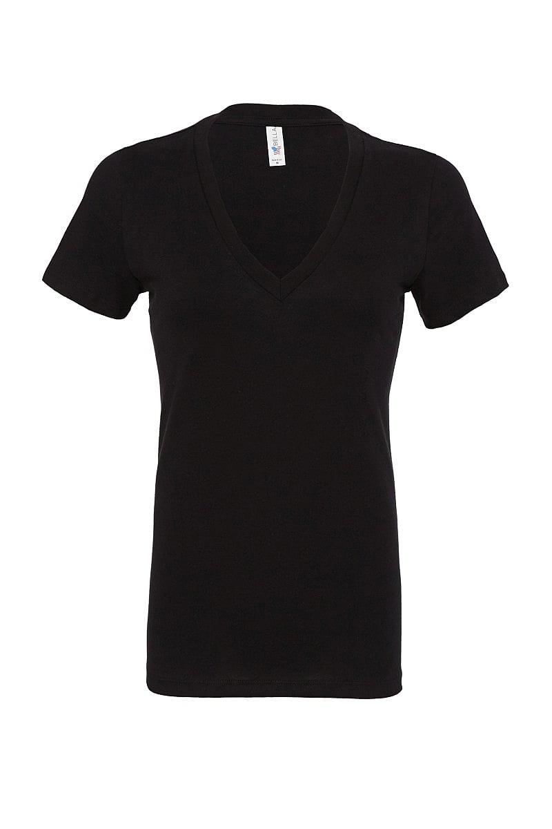 Bella Deep V-Neck Jersey T-Shirt in Black (Product Code: BE6035)