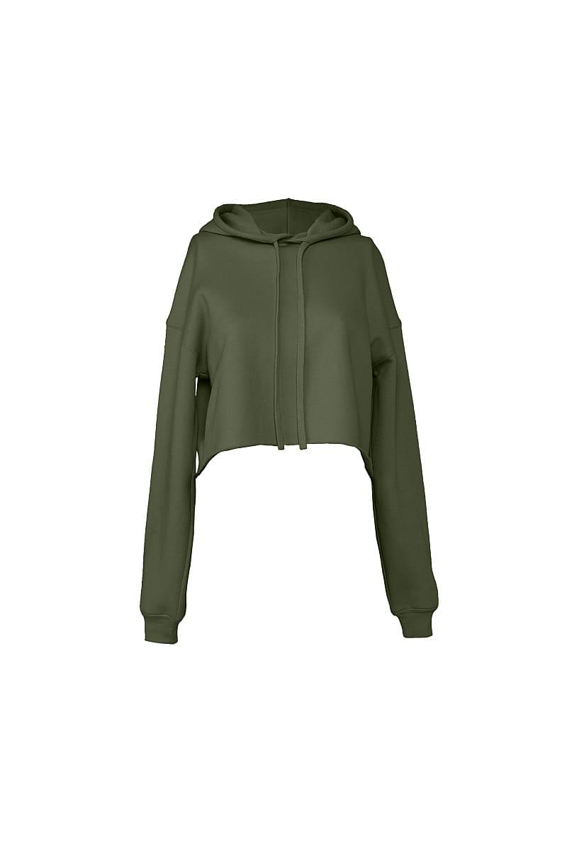 Bella+Canvas Womens Cropped Fleece Hoodie in Military Green (Product Code: BE7502)