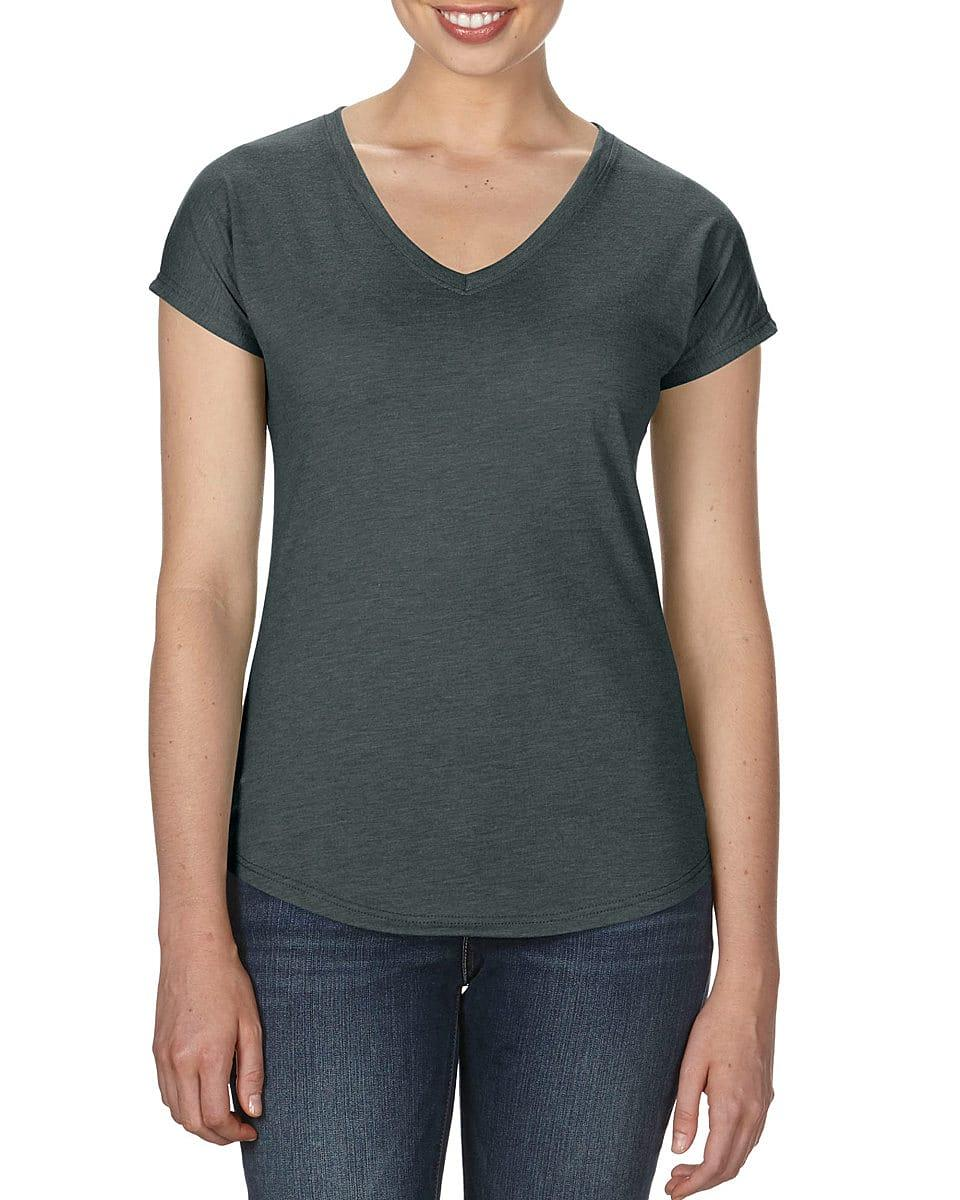 Anvil Womens Tri-Blend V-Neck T-Shirt in Heather Dark Grey (Product Code: 6750VL)