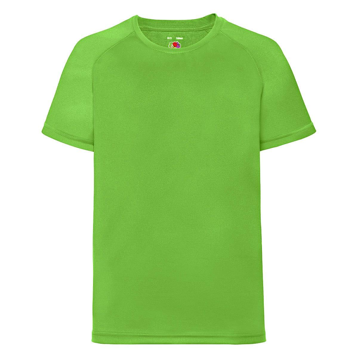 Fruit Of The Loom Childrens Kids Performance T-Shirt in Lime (Product Code: 61013)