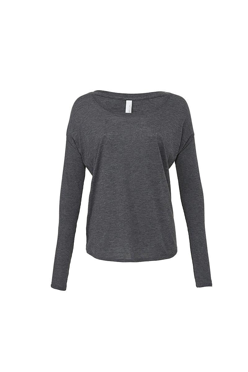 Bella Long-Sleeve Flowy 2x1 T-Shirt in Dark Heather (Product Code: BE8852)