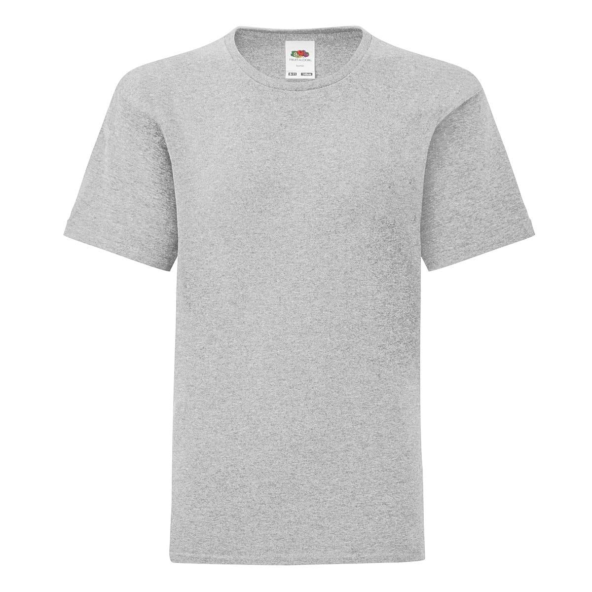 Fruit Of The Loom Kids Iconic T-Shirt in Heather Grey (Product Code: 61023)
