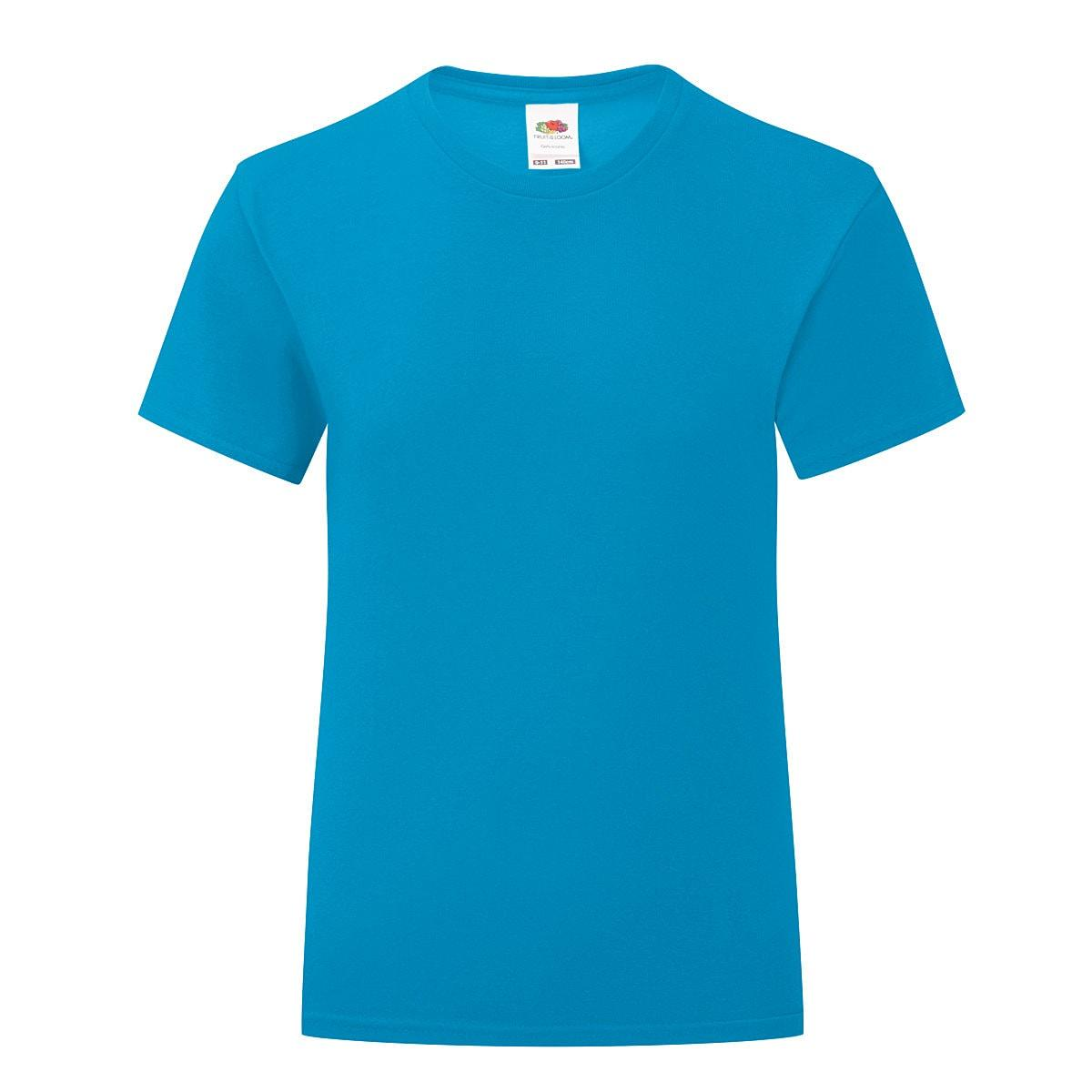 Fruit Of The Loom Girls Iconic T-Shirt in Azure Blue (Product Code: 61025)