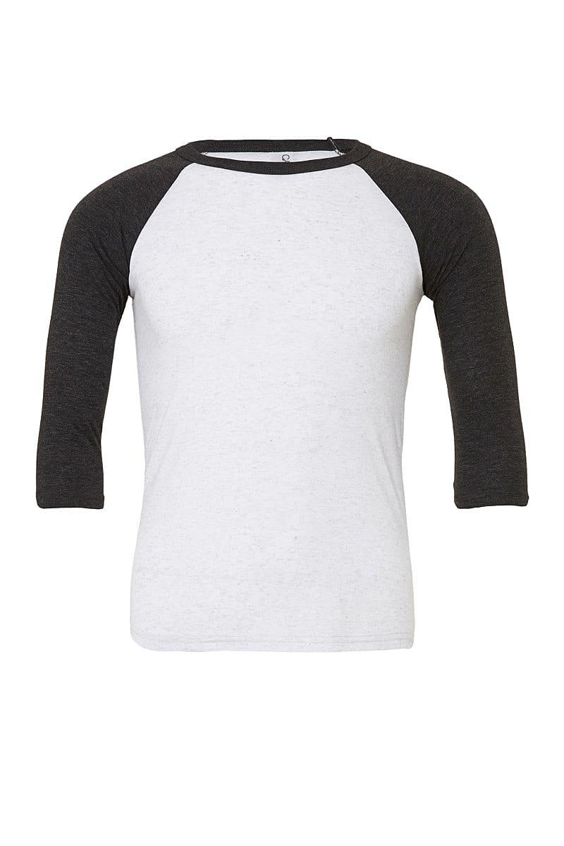 Bella Canvas 3/4 Baseball T-Shirt in White Fleck / Charcoal Tri (Product Code: CA3200)