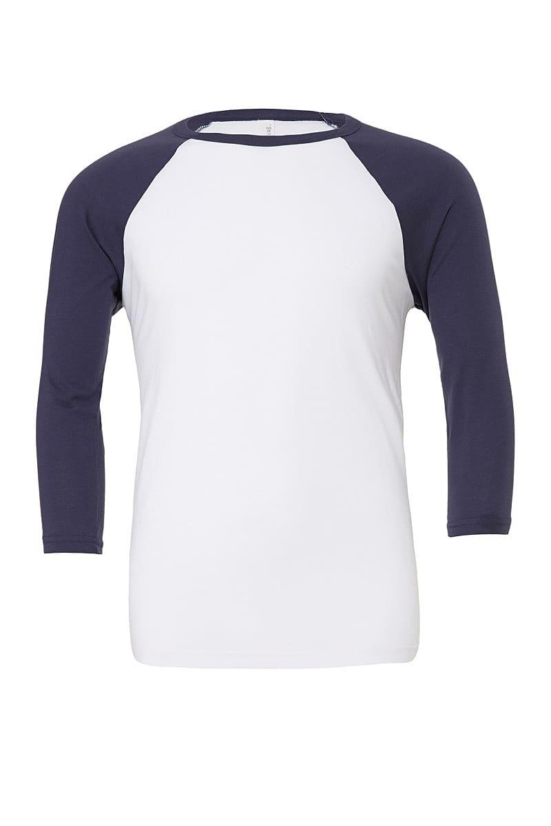 Bella Canvas 3/4 Baseball T-Shirt in White / Navy (Product Code: CA3200)