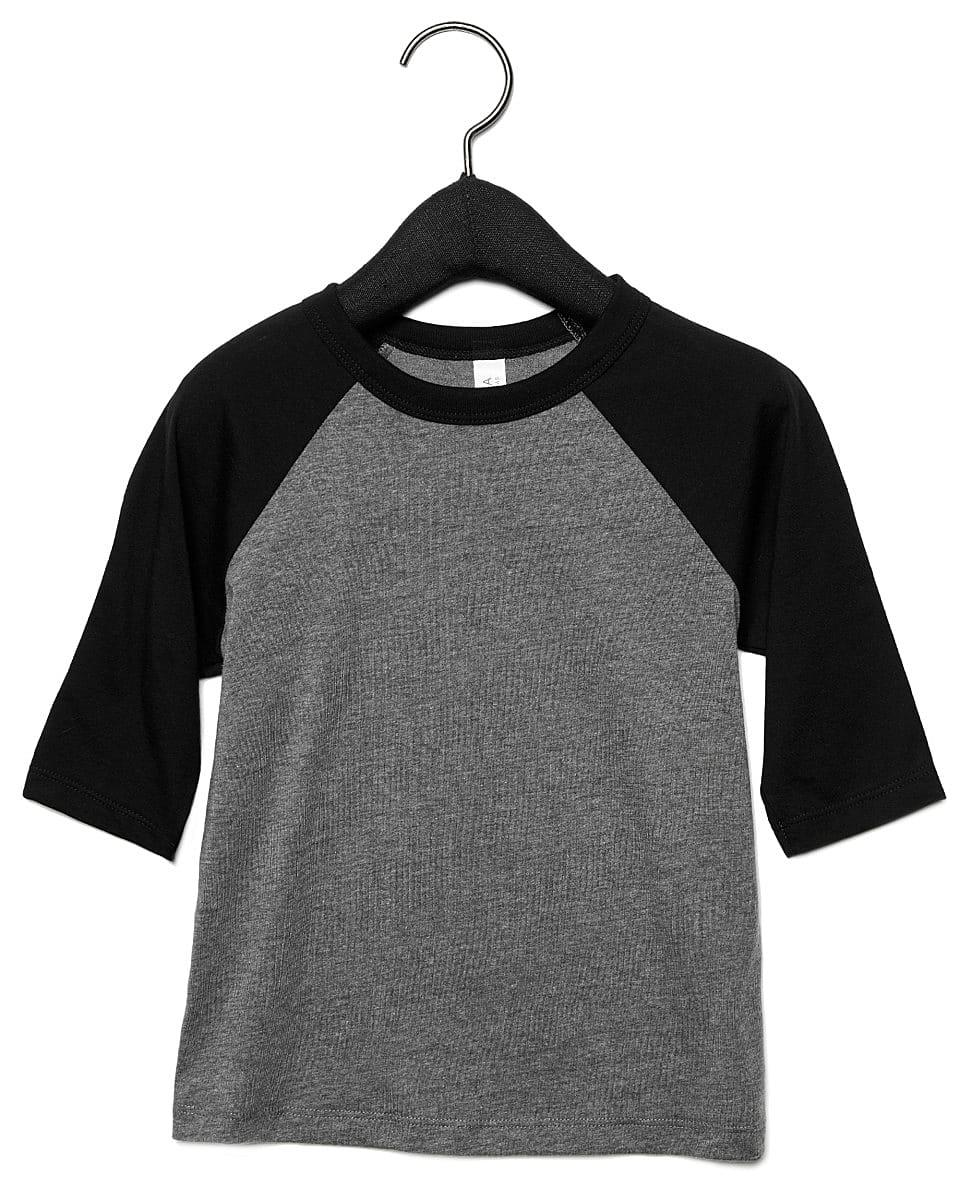 Bella Canvas Toddler 3/4 Baseball T-Shirt in Deep Heather / Black (Product Code: CA3200T)