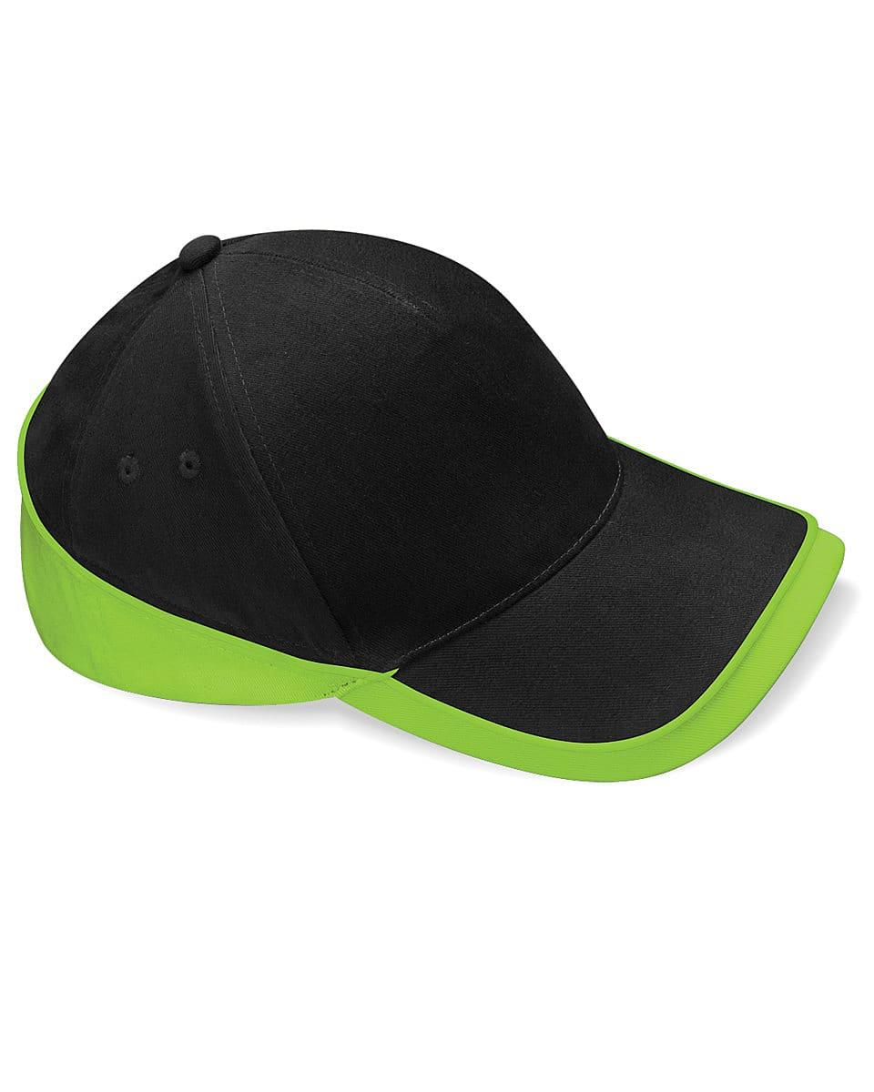 Beechfield Teamwear Competition Cap in Black / Lime Green (Product Code: B171)