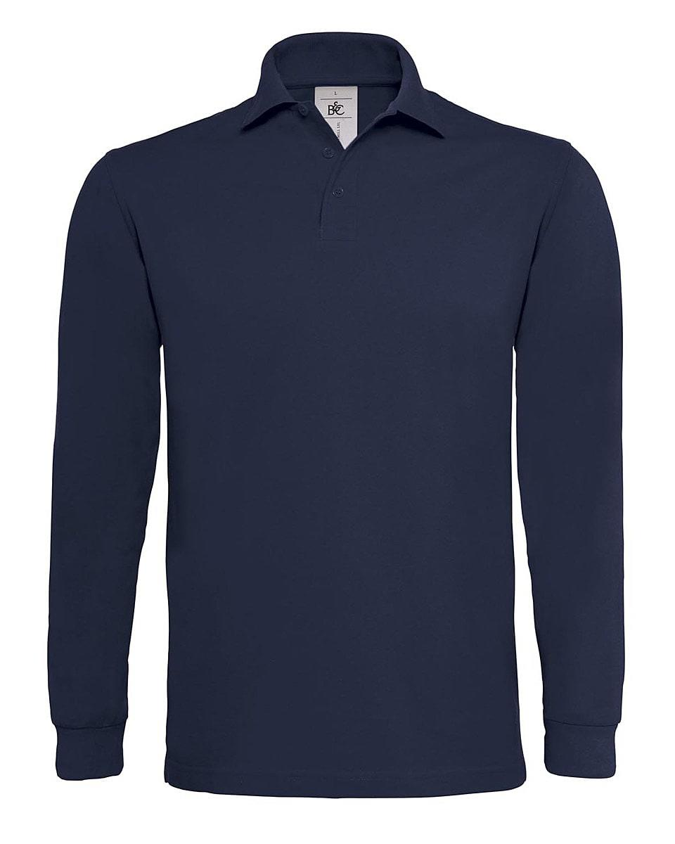 B&C Heavymill Long-Sleeve Polo Shirt in Navy Blue (Product Code: PU423)