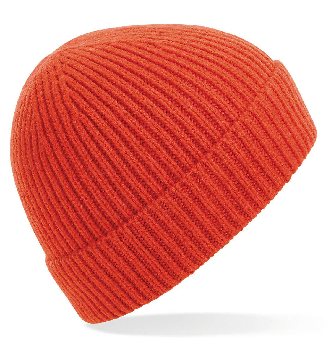 Beechfield Engineered Knit Ribbed Beanie Hat in Fire Red (Product Code: B380)