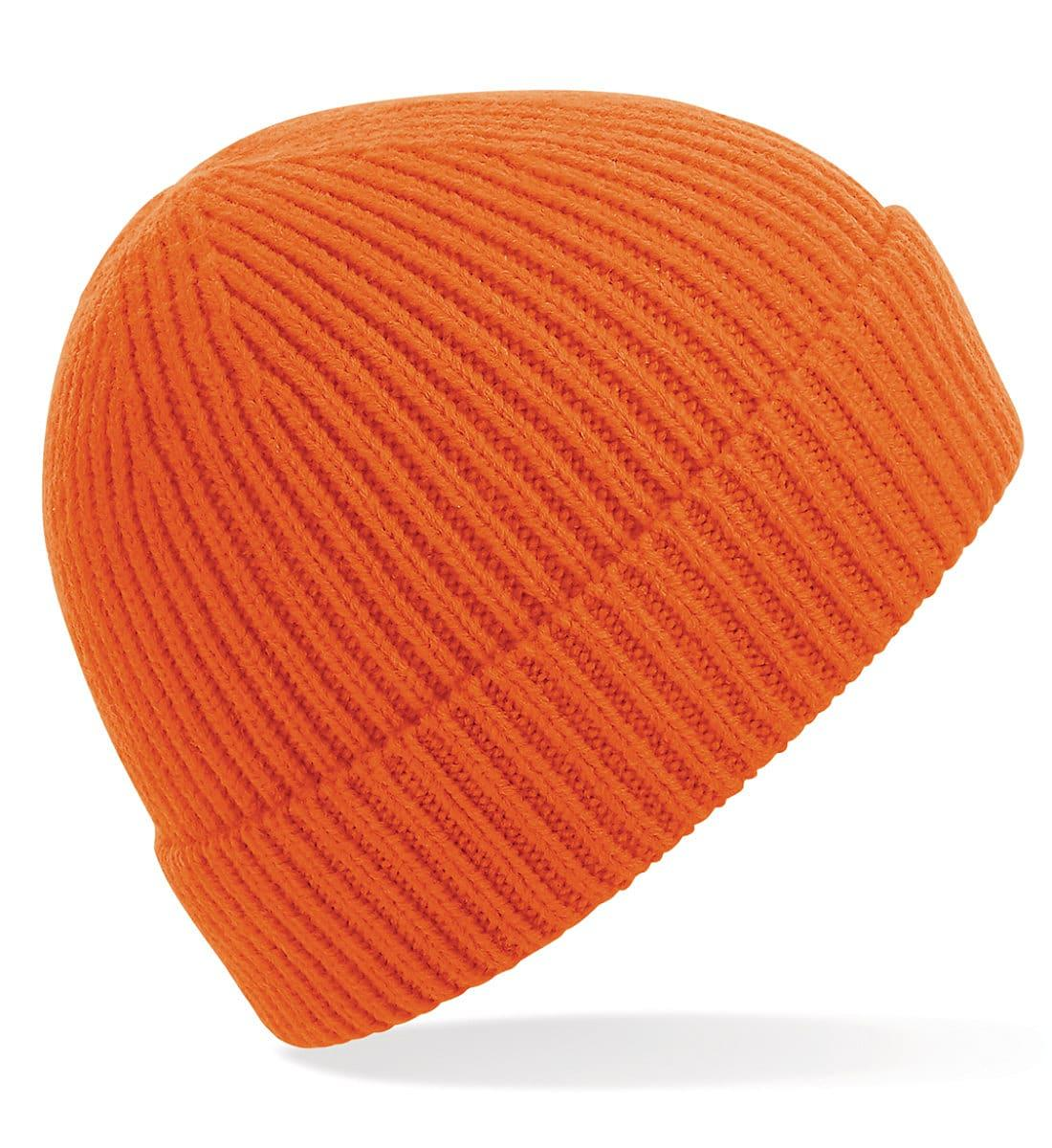 Beechfield Engineered Knit Ribbed Beanie Hat in Orange (Product Code: B380)