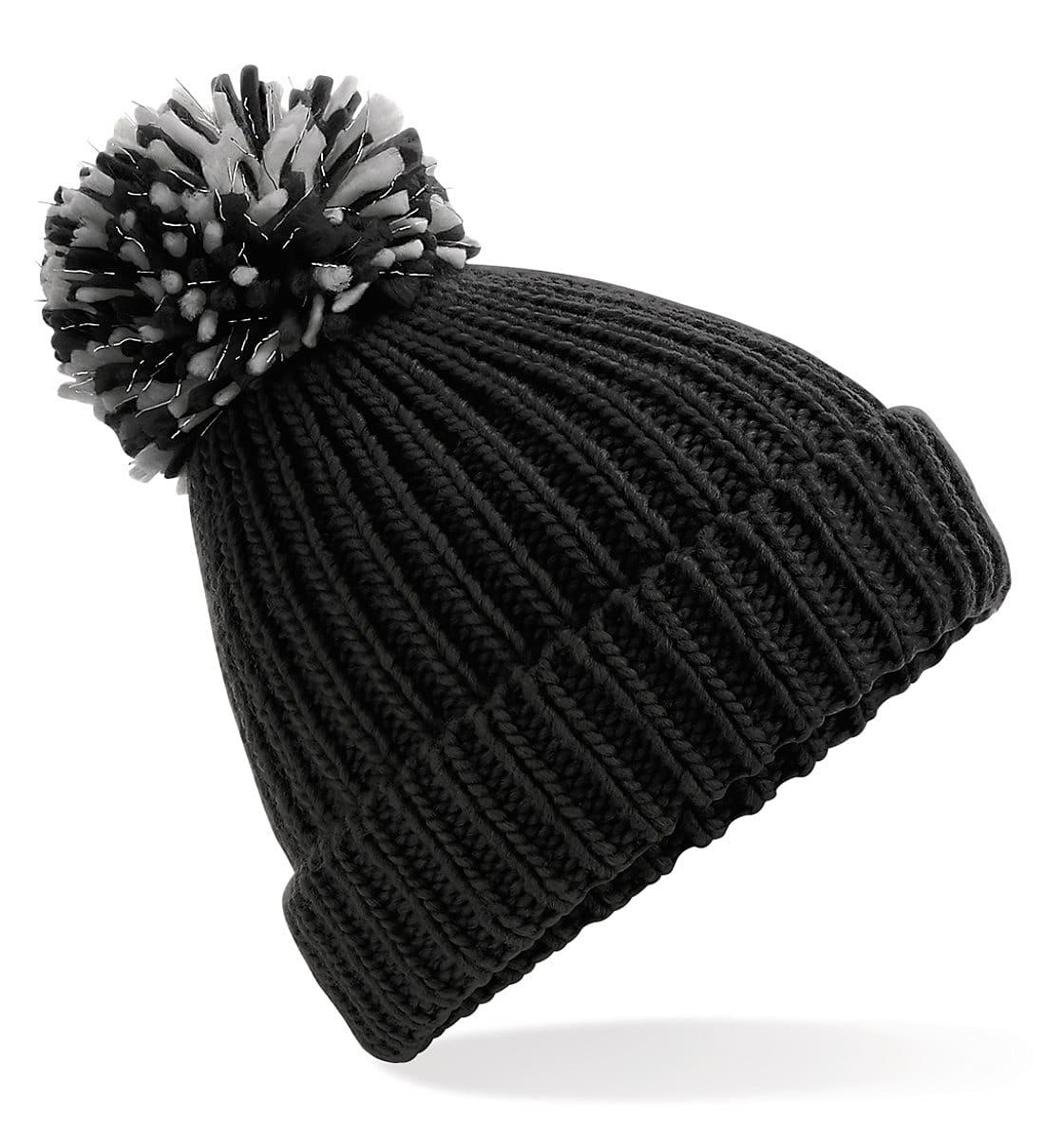 Beechfield Shimmer Pom Pom Beanie Hat in Black / Light Grey (Product Code: B409)