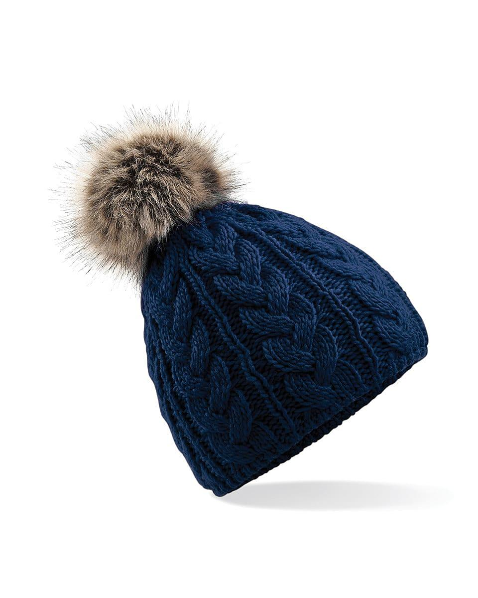 Beechfield Fur Pop Pom Cable Beanie Hat in Navy Blue (Product Code: B410)