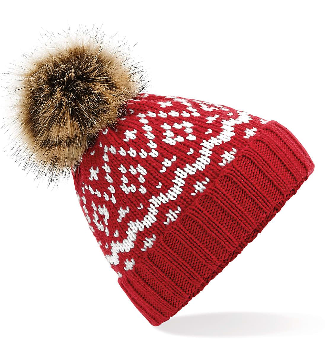 Beechfield Fair Isle Pop Pom Beanie Hat in Classic Red / White (Product Code: B411)