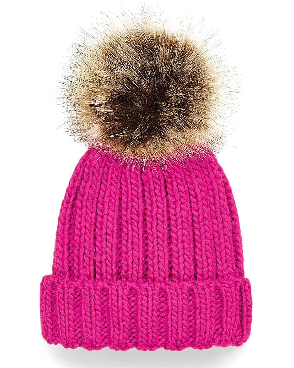 Beechfield Infant PomPom Chunky Beanie Hat in Fuchsia (Product Code: B412A)