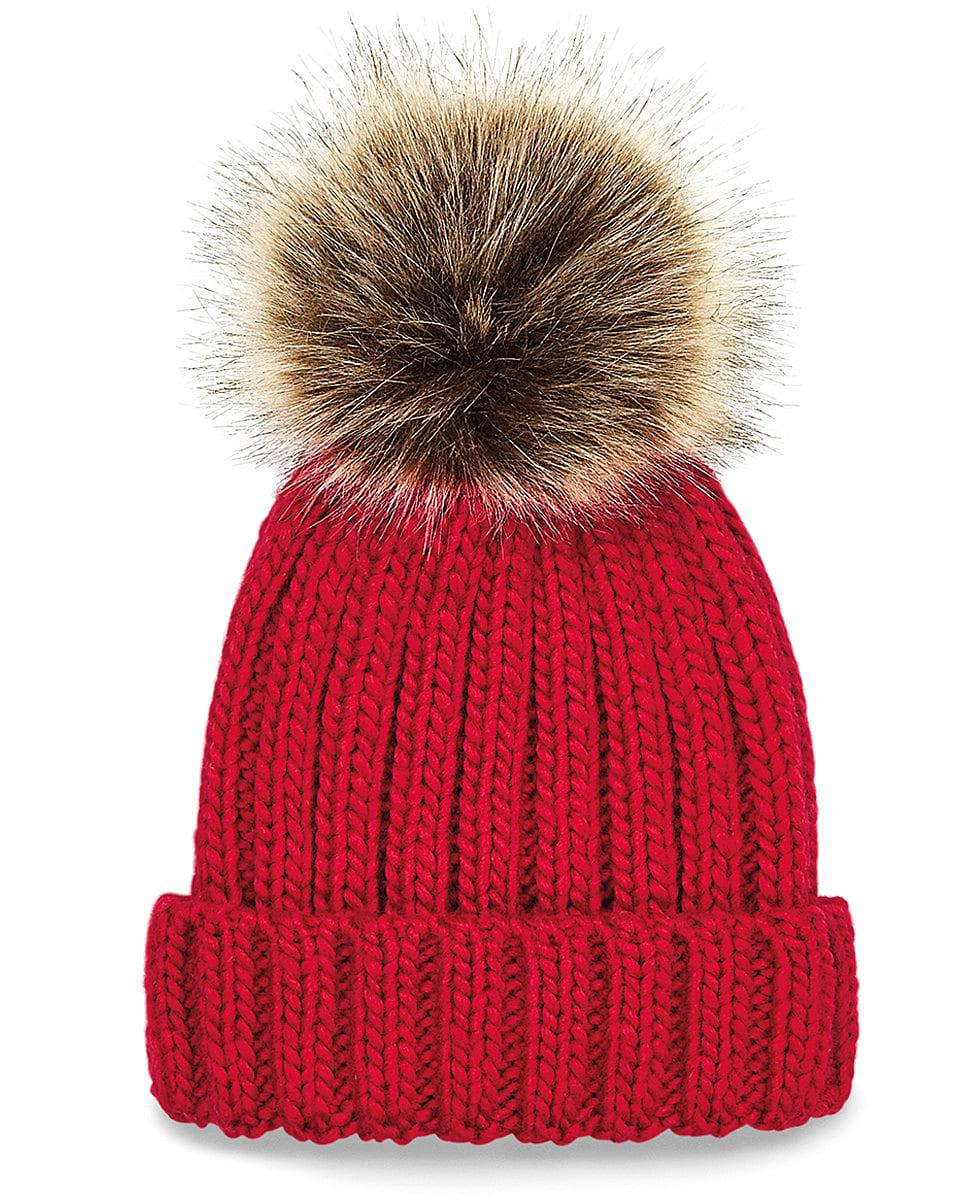 Beechfield Junior PomPom Chunky Beanie Hat in Classic Red (Product Code: B412B)