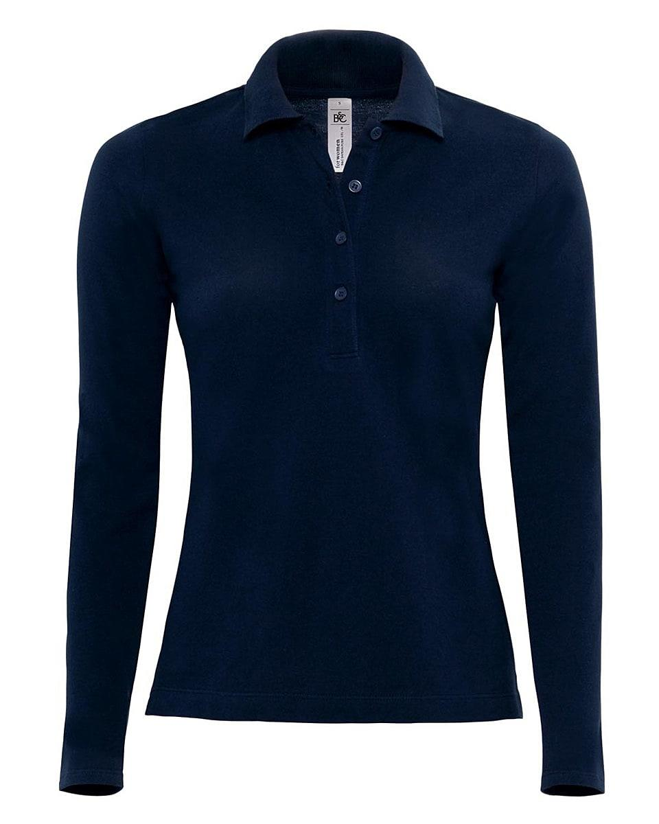 B&C Womens Safran Pure Long-Sleeve Polo Shirt in Navy Blue (Product Code: PW456)